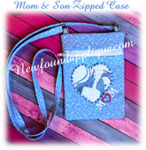 In The Hoop Mother And Son Zipped Bag Embroidery Machine Design