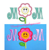 Mom With Flower Applique Embroidery Machine Design