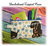 In The Hoop Dachshund Black Zipped Case Embroidery Machine Design