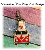 In The Hoop Canadian Van Key Fob Embroidery Machine Design