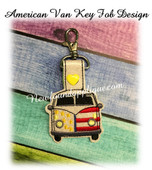 In The Hoop American Van Key Fob EMbroidery Machine Design