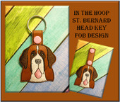 In The Hoop St. Bernard Dog Head Key Fob Embroidery Machine Design