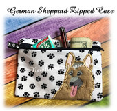 In The Hoop German Sheppard Dog Zipped Case Embroidery Machine Design