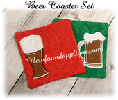 In The Hoop Beer Coaster Embroidery Machine Design Set