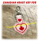 In The Hoop Canadian Heart  Snap Tab Key Fob Embroidery Machine Design