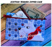 In The Hoop Scottish Terrier Zipped Case Embroidery Machine Design