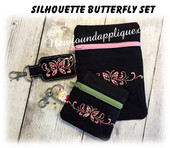 In The Hoop Butterfly Silhouette Zipped Cases and Snap Tab Key Fob Embroidery Machine Design SEt