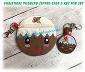 In The Hoop Christmas Pudding Zipped Case And Key Fob Embroidery Machine Design Set