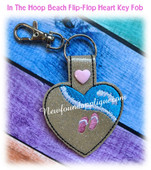 In The Hoop Heart Key Fob FlipFlop Embroidery Machine Design