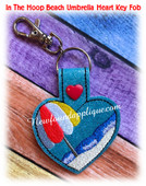 In the hoop Heart Key Fob Beach Umbrella Embroidery Machine Design