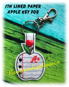 In the Hoop Lined Paper Apple Key Fob Embroidery Machine Design