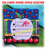 In the Hoop Lined Paper Apple Coaster Machine Embroidery Machine Design