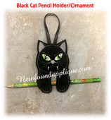In The Hoop Halloween Ornament/Pencil Holder Cat Embroidery Machine Design