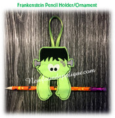 In The Hoop Halloween Ornament/Pencil Holder Frankenstein Embroidery Machine Design