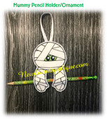 In The Hoop Halloween Ornament/Pencil Holder Mummy Embroidery Machine Design