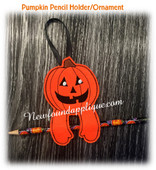 In The Hoop Halloween Ornament/Pencil Holder Pumpkin Embroidery Machine Design
