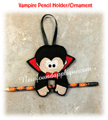 In The Hoop Halloween Ornament/Pencil Holder Vampire Embroidery Machine Design