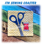 In The Hoop Sewing Coaster With Scissors Embroidery Machine Design