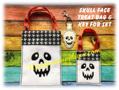 In The Hoop Skull Face Gift Bag and Key Fob Embroidery Machine Design Set