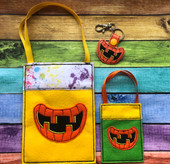 In The Hoop Pumpkin Mouth Treat Bag and Key Fob Embroidery Machine Design Set