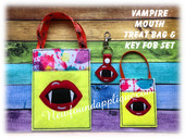 In The Hoop Vampire Mouth Treat Bag And Key Fob Embroidery Machine Design Set
