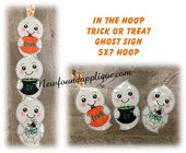 In The Hoop Ghost Trick Or Treat Sign Embroidery Machine Design for 5x7 hoop