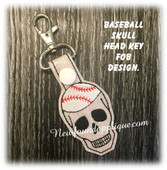 In The Hoop Skull Baseball Key Fob Embroidery Machine Design