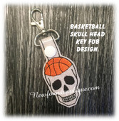 In The Hoop Skull Basketball Key Fob Embroidery Machine Design