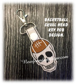 In The Hoop Skull Football Key Fob EMbroidery Machin Design