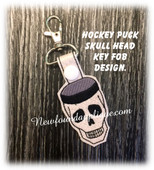 In The Hoop Hockey Puck Skull Key Fob Embroidery Machine Design