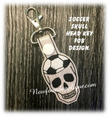In The Hoop Soccer Skull Key Fob Embroidery Machine Design