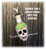 In The Hoop Tennis Skull Key Fob Embroidery Machine Design