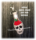 In The Hoop Apple Skull Key Fob Embroidery Machine Design