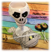 In The Hoop Mummy Flat Coaster Embroidery Machine Design