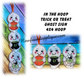In The Hoop Ghost Trick Or Treat Sign Embroidery Machine Design For 4x4 Hoop