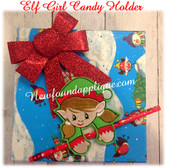 In The Hoop Elf Girl Candy Cane Pencil Holder EMbroidery Machine Design