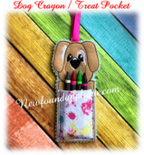In The Hoop Dog Crayon Holder Treat Pocket Embroidery Machine Design