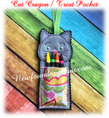 In the Hoop Cat Crayon Treat Pocket Embroidery Machine Design