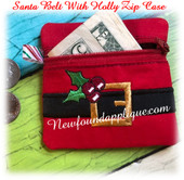 In The Hoop Santa Belt w Holly Zipped Case Embroidery Machine Design