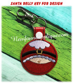 In the Hoop Santa Belly Key Fob EMbroidery Machine Design