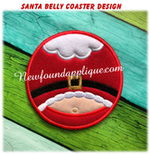 In The hoop Santa Belly Coaster EMbroidery Machine Design