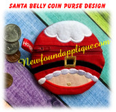 In The Hoop Santa Belly Zipped Coin Purse Embroidery Machine Design