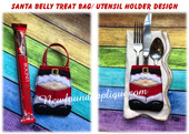 In The Hoop Santa Belly Treat Bag Utensil HOlder embroidery Machine Design