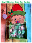 In The Hoop Boy Elf Peeker Snap Tray EMbroidery Machine Design