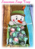 In The Hoop Peeking Snowman Snap Tray EMbroidery Machine Design