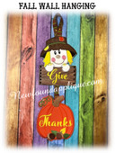 In the Hoop Fall Wall Hanging With Scarecrow & Pumpkin Embroidery Machine Design