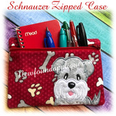 In The Hoop Schnauzer Zipped Case Embroidery Machine Design