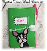 In The Hoop Boston Terrier Book Cover Embroidery Machine Design 5x7 Hoop