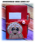 In The Hoop Gingerbread Book Cover Embroidery Machine Design 5x7 Hoop