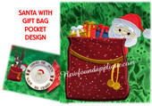 In The hoop Santa With a Gift Bag Pocket Embroidery Machine Design